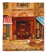Cafe Vieux Montreal Fleece Blanket