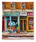 Cafe Yenta And Ma's Place Fleece Blanket