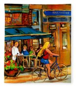 Cafes With Blue Awnings Fleece Blanket