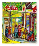 Caffe Italia And Milano Charcuterie Montreal Watercolor Streetscenes Little Italy Paintings Cspandau Fleece Blanket