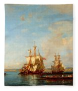 Caiques And Sailboats At The Bosphorus Fleece Blanket