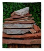 Cairns Rock Trail Marker Bluff Utah 01 Fleece Blanket