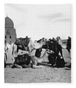 Cairo: Group Of Camels Fleece Blanket