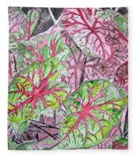 Caladiums Tropical Plant Art Fleece Blanket