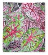 Caladiums Tropical Plant Art Fleece Blanket