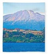 Calbuco Volcano Over Llanquihue Lake From Puerto Varas-chile Fleece Blanket
