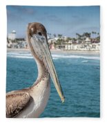 California Pelican Fleece Blanket by John Wadleigh