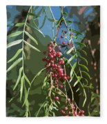 California Pepper Tree Leaves Berries Abstract Fleece Blanket