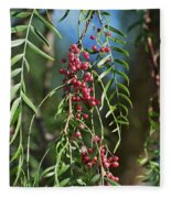 California Pepper Tree Leaves Berries I Fleece Blanket