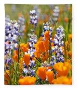 California Poppies And Lupine Wildflowers Fleece Blanket