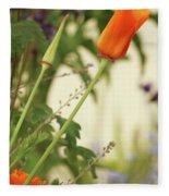 California Poppies In The Garden Fleece Blanket