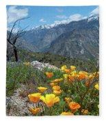 California Poppy And Mountain Panorama Fleece Blanket