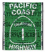 California Route 1 Pacific Coast Highway Sign Recycled Vintage License Plate Art Fleece Blanket