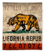 California State Flag Recycled Vintage License Plate Art Fleece Blanket