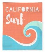 California Surf- Art By Linda Woods Fleece Blanket