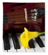 Calla Lily And Violin On Piano Fleece Blanket