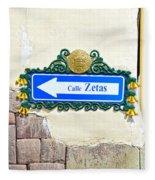 Calle Zetas Sign, Cusco, Peru Fleece Blanket