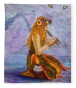 Calling The Wolf Spirit Fleece Blanket