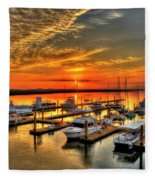 Calm Waters Bull River Marina Tybee Island Savannah Georgia Art Fleece Blanket
