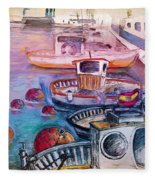 Calpe Harbour 03 Fleece Blanket