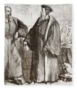 Calvin And Servetus Before The Council Of Geneva Fleece Blanket