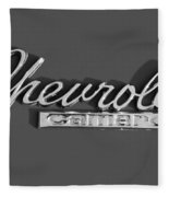Camaro Logo In Black And White Fleece Blanket