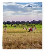Cambodia Field Workers Harvesting Rice Fleece Blanket