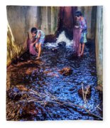 Cambodian Boys Netting Fish Fleece Blanket