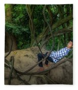 Cambodian Jungle Swing Fleece Blanket