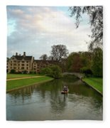 Cambridge Clare College Stream Boat And Boys Fleece Blanket