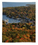 Camden Harbor In The Fall Fleece Blanket