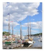 Camden Maine Harbor Fleece Blanket