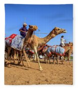 Camel Racing In Dubai Fleece Blanket