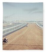Camel Racing Track In Dubai Fleece Blanket