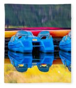 Cameron Lake Paddle Boats Fleece Blanket