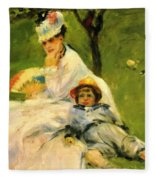 Camille Monet And Her Son Jean In The Garden At Argenteuil 1874 Fleece Blanket