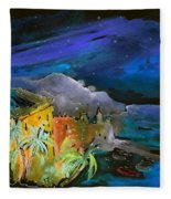 Camogli By Night In Italy Fleece Blanket