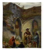 Camp Gypsies In The Ruins Of The Abbey Fleece Blanket