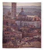 Campanile And Cathedral In Siena Italy Antique Matte Fleece Blanket