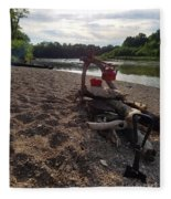Campfire Cooking Soon - Indiana Canoeing Fleece Blanket
