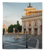 Campidoglio Square In Rome Fleece Blanket