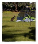 Camping With Swamp Wallaby Fleece Blanket