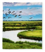 Canada Geese Entering Idaho's Teton Valley Fleece Blanket
