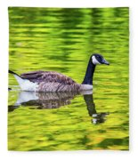 Canada Goose Swimming In A Pond Fleece Blanket
