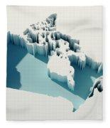 Canada Simple Intrusion Map 3d Render Fleece Blanket