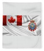 Canadian Armed Forces  -  C A F  Badge Over Flag Fleece Blanket