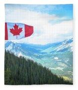 Canadian Flag Over Banff Fleece Blanket