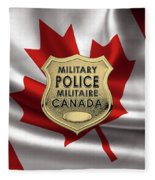 Canadian Forces Military Police C F M P  -  M P Officer Id Badge Over Canadian Flag Fleece Blanket