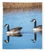 Canadian Geese Couple Fleece Blanket