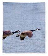 Canadian Geese In Flight Fleece Blanket